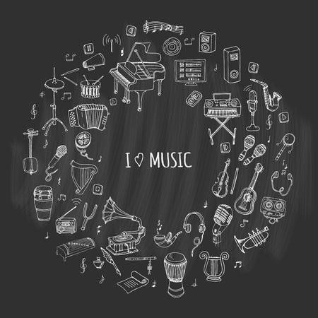 Hand getrokken doodle Ik hou van muziek set Vector illustratie muzikaal instrument Symbolen icoon collecties Cartoon geluid concept elementen Muziek notities Piano gitaar Viool Trompet Trommel Grammofoon Saxofoon Harp