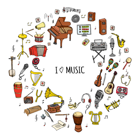 Hand drawn doodle I love music set Vector illustration musical instrument Symbols icon collections Cartoon sound concept elements Music notes Piano Guitar Violin Trumpet Drum Gramophone Saxophone Harp