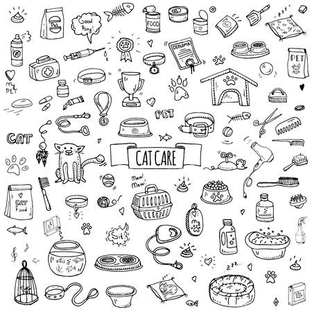 Hand getekende doodle Huisdieren spullen en aanbod iconen set. Vector illustratie. Vet symbool collectie. Cartoon cat care elementen: kennel, leiband, eten, poot, kom, bot en andere goederen voor huisdierwinkel, hotel