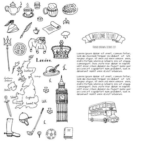 Hand getrokken doodle Verenigd Koninkrijk set Vectorillustratie Britse pictogrammen Welkom bij Londen elementen Britse symbolen collectie Thee Bus Paardrijden Golf Kroon Beer Leeuw Bulldog Londen brug Big Ben toren