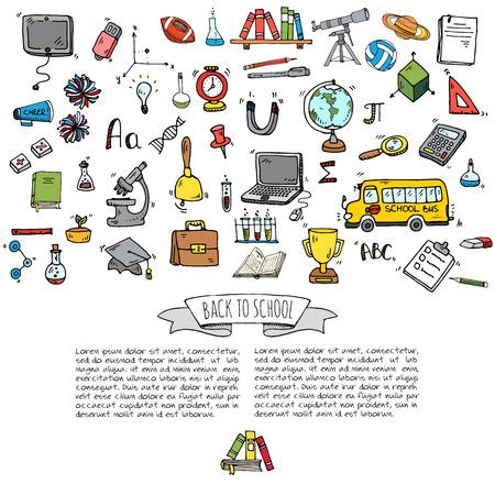 Tiré par la main doodle Retour aux icônes de l'école set Vector illustration symboles éducatifs Cartoon collection divers éléments d'apprentissage: ordinateur portable; Boîte à déjeuner; Sac; Microscope; Télescope; Livres; bus Pencil Sketch Banque d'images - 81797613