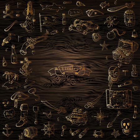 Hand gezeichnet Doodle Pirate Icons Pirat Vektor-Illustration Symbole gesetzt Sammlung Cartoon-Piraterie-Konzept Elemente Piratenhut Schatztruhe Schwarze Flagge Schädel-Knochen Kompass Piraten-Kostüm Elemente Standard-Bild - 81797615