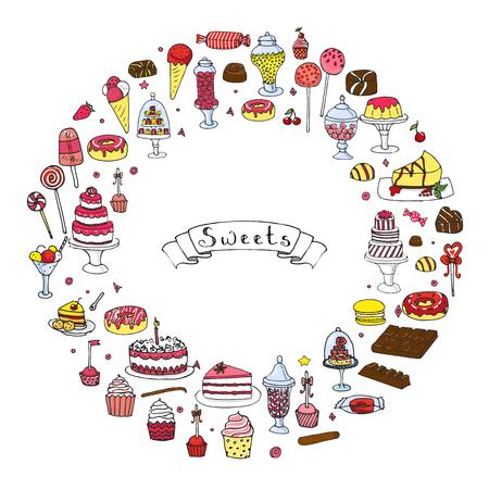 手描き落書きのお菓子セットです。ベクトルの図。大ざっぱな甘い食べ物アイコンのコレクション。漫画砂漠シンボルを分離: ケーキ、マカロン、チ  イラスト・ベクター素材