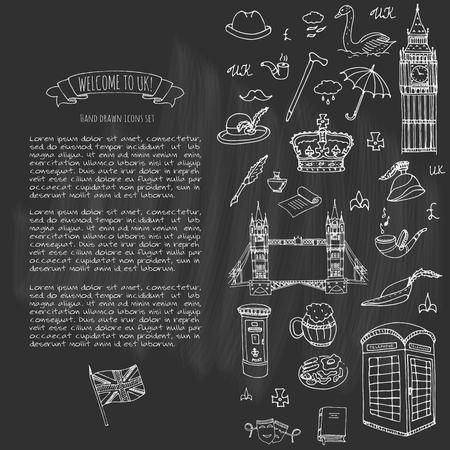 Conjunto de mão desenhada doodle Reino Unido ilustração vetorial Ícones de Reino Unido Bem-vindo ao elementos de Londres Coleção de símbolos britânicos Tea Bus Passeios a cavalo Golf coroa cerveja leão Bulldog Londres ponte Big Ben Tower Foto de archivo - 81797617