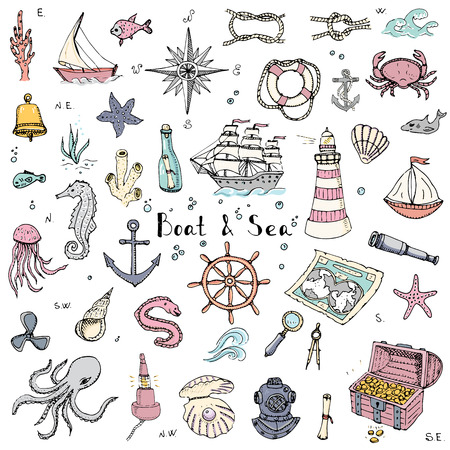 Hand drawn doodle Boat and Sea set. Vector illustration. Icons sea life concept elements. Ship symbols collection Marine life Nautical design Underwater life Water animals Ocean map Spyglass Magnifier