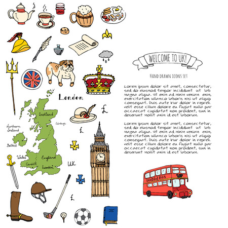 Hand drawn doodle United Kingdom set Vector illustration UK icons  Welcome to London elements British symbols collection Tea Bus Horse riding Golf Crown Beer Lion Bulldog London bridge Big Ben Tower