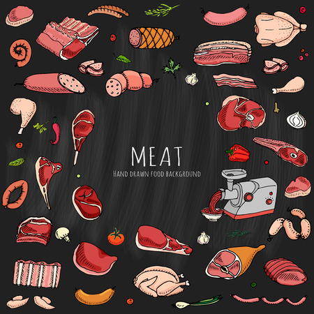 Hand drawn doodle set of cartoon of meat and poultry. Vector illustration set. Sketchy food elements collection: Lamb Pork Ham Mince Chicken Steak Bacon Sausage Salami Veggie Chalkboard background Illusztráció