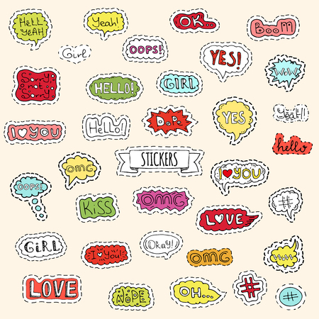 Fashion patch badges. Vector illustration Hand drawn isolated on light background. Set of stickers, pins, patches in cartoon 80s-90s pop-art comic style design. Lettering Boom Yeah Wow Dope Hashtag Ok