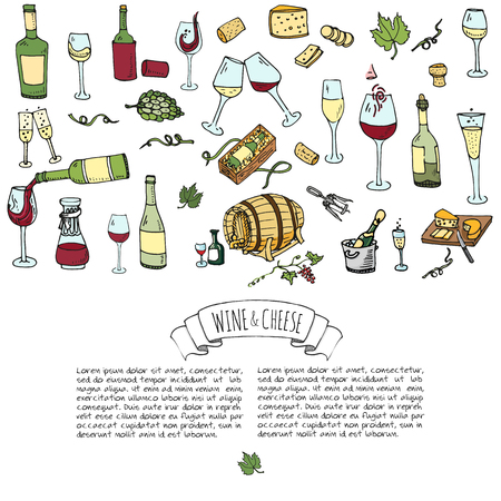 Hand drawn wine set icons Vector illustration Sketchy wine tasting elements collection Winery objects Cartoon symbols Vineyard background Vine Vineland Grape Glass Bottle Cheese Oak barrel Opener Ilustrace