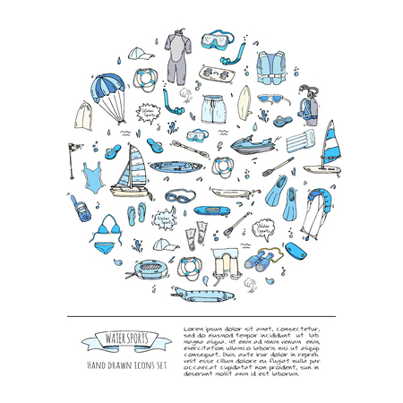 Hand drawn doodle Water sports icons set. Vector illustration, isolated symbols collection, Cartoon various elements: jetski, wakeboard, waterski, surfing, kayak, kitesurfing, paddle, parasailing Illustration