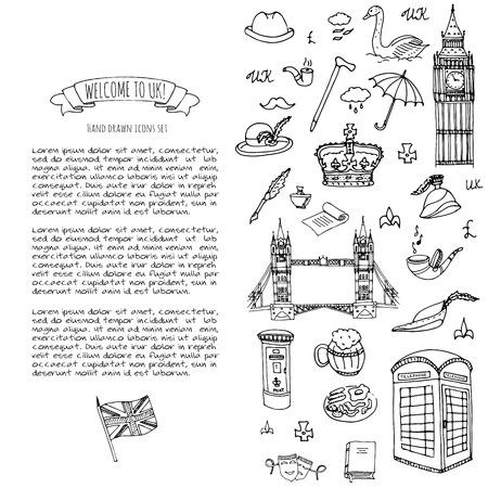 Hand getrokken doodle Verenigd Koninkrijk set Vector illustratie UK pictogrammen Welkom bij London elementen Britse symbolen collectie Tea Bus Paardrijden Golf Crown Beer Lion Bulldog brug van Londen Big Ben Tower Stock Illustratie