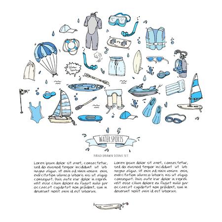 Hand getrokken doodle Watersport iconen set. Vector illustratie, die symbolen collectie, Cartoon verschillende elementen: jetski, wakeboard, waterski, surfen, kajakken, kitesurfen, paddle, parasailing