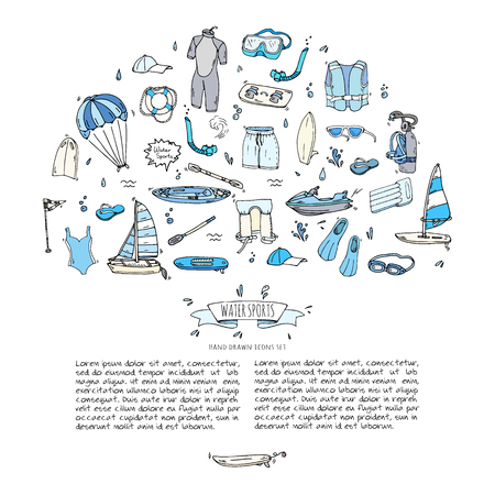 Hand drawn doodle Water sports icons set. Vector illustration, isolated symbols collection, Cartoon various elements: jetski, wakeboard, waterski, surfing, kayak, kitesurfing, paddle, parasailing Illustration
