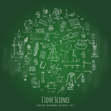 Freehand drawing school items. Science Lesson concept. Hand drawing set of education supplies sketchy doodles Cartoon symbols Vector illustration Physics Calculus Chemistry Biology Astronomy Lab
