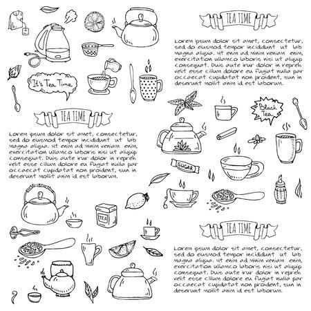 ice tea: Hand drawn doodle Tea time icon set. Vector illustration. Isolated drink symbols collection. Cartoon various beverage element: mug, cup, teapot, leaf, bag, spice, plate, mint, herbal, sugar, lemon.