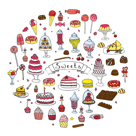 Hand drawn doodle Sweets set. Vector illustration. Sketchy Sweet food icons collection. Isolated cartoon desert symbols: Cupcake, Macarons, Chocolate bar, Candy, Cake, Pie, Pastry, Lollipop, Pastry.