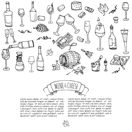 Hand drawn wine set icons Vector illustration Sketchy wine tasting elements collection Winery objects Cartoon symbols Vineyard background Vine Vineland Grape Glass Bottle Cheese Oak barrel Opener Stock Vector - 81797679