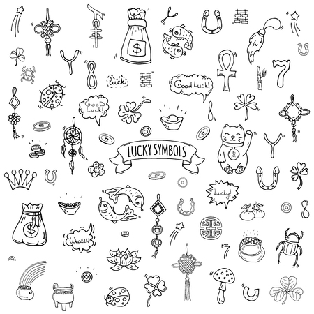 Hand drawn doodle Lucky symbols icon set Vector illustration isolated Luck symbols collection Cartoon wealth element: Ladybug Dreamcatcher Clover Horseshoe Neko cat Wishbone Scarab Charms Good Luck