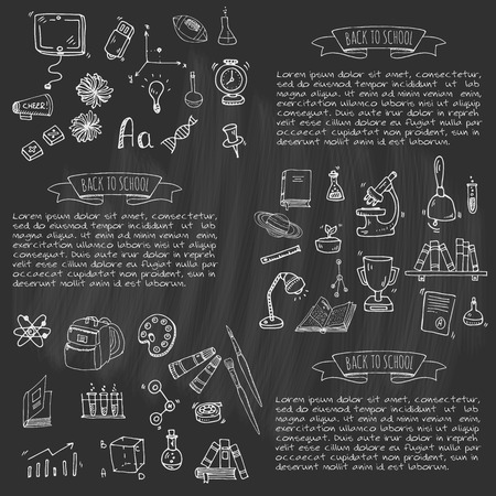 Hand drawn doodle Back to school icons set. Vector illustration. Cartoon. Educational elements: Laptop; Lunch box; Bag; Microscope; Telescope; Books; Pencil, Math, Science, Sport, Baseball. Sketch bus Illustration