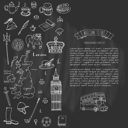 britannia: Hand drawn doodle United Kingdom set Vector illustration UK icons  Welcome to London elements British symbols collection Tea Bus Horse riding Golf Crown Beer Lion Bulldog London bridge Big Ben Tower