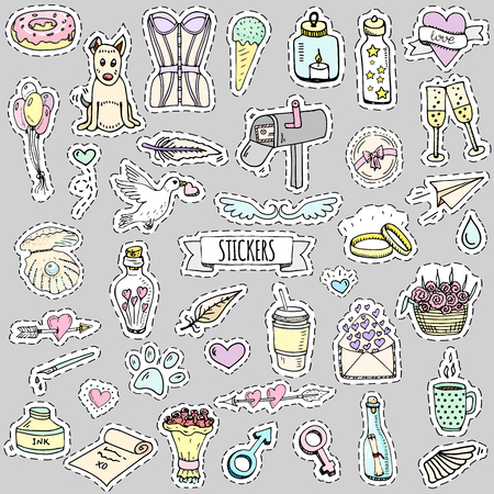 Fashion patch badges. Vector illustration Hand drawn isolated on light background. Set of stickers, pins, patches in cartoon 80s-90s pop-art comic style design Lingerie Flowers Bottle Sparkling Arrow