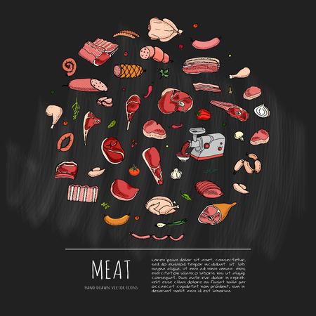 Hand drawn doodle set of cartoon of meat and poultry. Vector illustration set. Sketchy food elements collection: Lamb Pork Ham Mince Chicken Steak Bacon Sausage Salami Veggie Chalkboard background Illustration