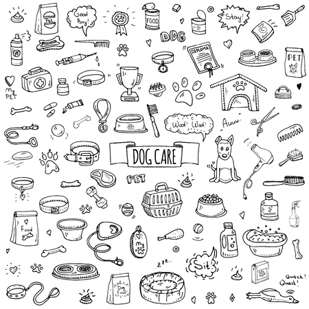 cat grooming: Hand drawn doodle Dog care icons set. Vector illustration. Vet symbol collection. Cartoon cat care elements: kennel, leash, food, paw, bowl, bone and other goods for pet shop, hotel