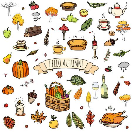 Hand getrokken doodle herfst pictogrammen instellen. Vector illustratie. Herfst symbolen collectie. Cartoon verschillende seizoenselementen: kalkoen, oogst, groenten, pompoentaart, bladeren, bomen, hete thee, wijn, champignons