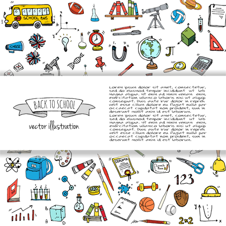 Hand drawn doodle Back to school icons set Vector illustration educational symbols collection Cartoon various learning elements: Laptop; Lunch box; Bag; Microscope; Telescope; Books; Pencil Sketch bus Stock Vector - 82745256
