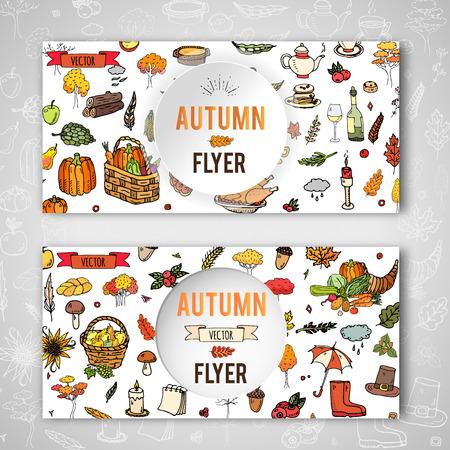 Hand getrokken doodle herfst pictogrammen instellen. Vector illustratie. Herfst symbolen collectie. Cartoon sjabloon elementen sjabloon: Turkije, oogst, groenten, pompoen taart, bladeren, bomen, hete thee, champignons