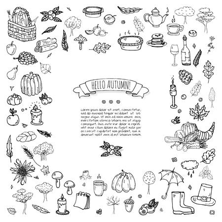 手描き落書き秋のアイコンを設定します。ベクトルの図。秋の記号のコレクション。季節のさまざまな要素を漫画: トルコ、収穫、野菜、カボチャの