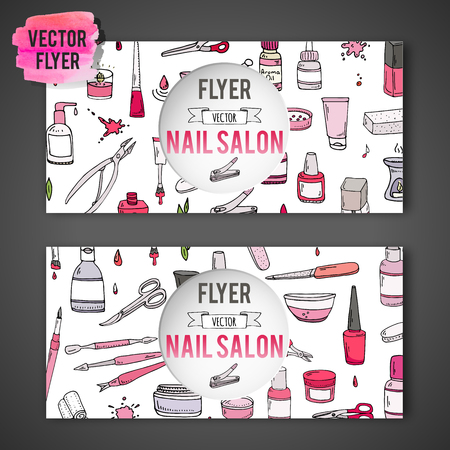 Hand drawn doodle Nail salon icons set. Vector illustration. Manicure sketch accessories collection Cartoon flyer template pedicure tools elements: polish bottle brush varnish scissors lotion cream