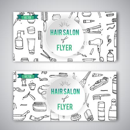 手描き落書きの髪サロン アイコンを設定します。ベクトルの図。床屋のシンボル コレクション チラシ テンプレート漫画理髪機器要素: シャンプー   イラスト・ベクター素材