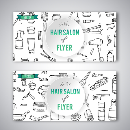 Hand drawn doodle Hair salon icons set. Vector illustration. Barber symbols collection Flyer template Cartoon hairdressing equipment element: shampoo mask hair die scissors iron curlers dryer razor Illustration