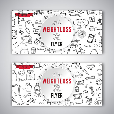 Hand drawn doodle Weight loss icons set Vector illustration dieting symbols collection Cartoon sketch elements Diet Sport equipment Healthy food eating Nutrition Protein Carbs Fats chemical formula Ilustracja