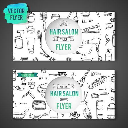 Hand drawn doodle Hair salon icons set. Vector illustration. Barber symbols collection Flyer template Cartoon hairdressing equipment element: shampoo mask hair die scissors iron curlers dryer razor Иллюстрация