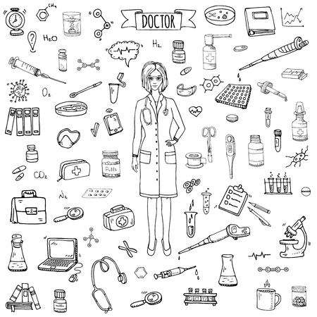 Hand drawn doodle Doctor icons set Vector illustration Sketch Nurses and medical staff. Medical hospital concept in cartoon design people character. Healthcare symbols collection: laboratory equipment Vettoriali