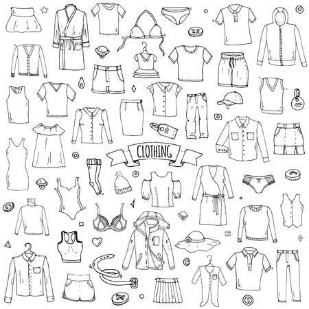 손으로 그린 낙서 의류 아이콘을 설정합니다. 벡터 일러스트 레이 션. 격리 된 의류 기호 컬렉션입니다. 만화 옷감 요소 : 치마 셔츠 티셔츠 반바지 드