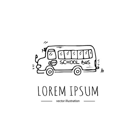 Hand drawn doodle Yellow school bus icon. Vector illustration. Back to school educational symbol Cartoon  learning element Sketch bus Kids riding Ilustracja