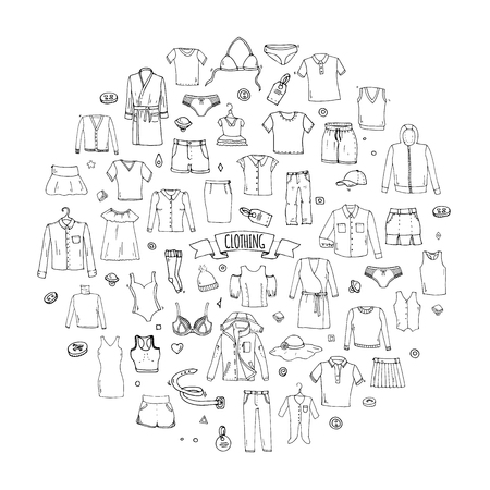 Hand drawn doodle Clothing icons set. Vector illustration.Isolated apparel symbols collection. Cartoon cloth elements: Skirt Shirt T-shirt Shorts Dress Hoodie Underware Blouse Pants Socks Hat Cap Top