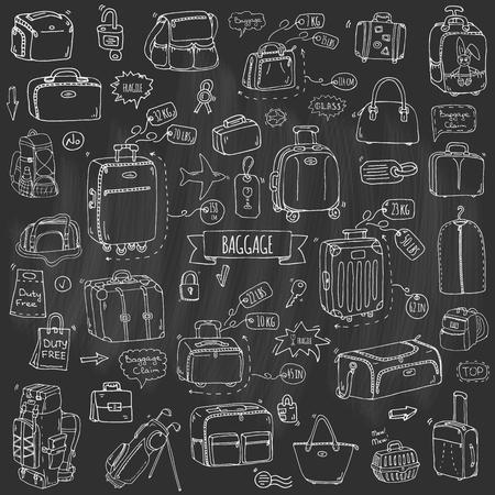 Doodle dibujado a mano Conjunto de iconos de equipaje. Ejemplo del vector Diferentes tipos de equipaje. Maleta grande y pequeña, equipaje de mano, mochila, animales de carga, caja, bolso, etiqueta. Boceto estilo de dibujos animados.
