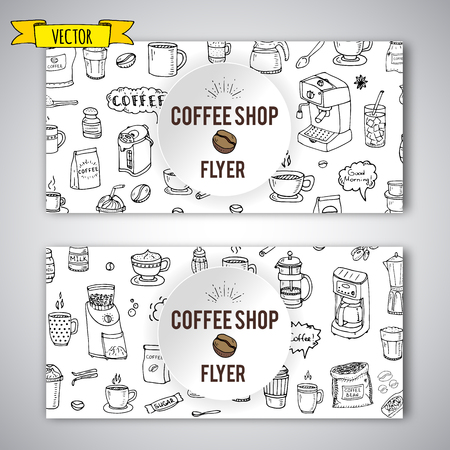 Hand drawn doodle Coffee time icon set Vector illustration isolated drink symbols collection Cartoon poster template beverage element: mug, cup, espresso, irish, decaf, mocha, coffee making machine Illustration