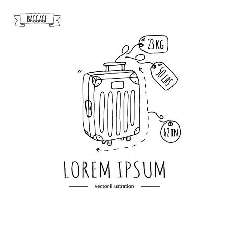 Doodle dibujado a mano Conjunto de iconos de equipaje. Ejemplo del vector Cantidad de peso y tamaño Tipo de equipaje. Maleta de equipaje de maleta grande con etiqueta de etiqueta de bolso de cajón de animales Estilo de dibujos animados de dibujo.