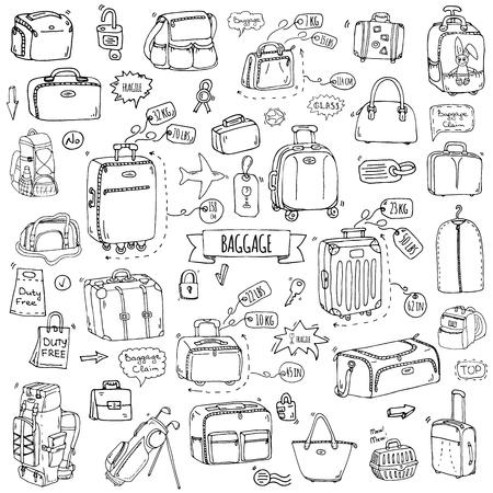 Ensembles de bagages à doigts dessinés à la main. Illustration vectorielle. Différents types de bagages. Grande et petite valise, bagage à main, sac à dos, transport d'animaux, caisse, sac à main, étiquette. Croquis du style de dessin animé.