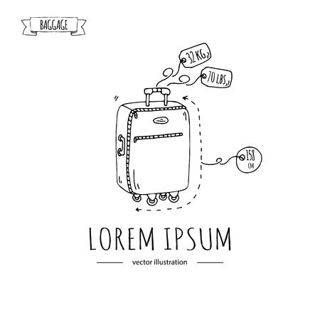 手描き落書き手荷物のアイコンを設定します。ベクトルの図。重量とサイズの許容手荷物の種類。大きなスーツケース荷物バックパック運ぶ動物は  イラスト・ベクター素材