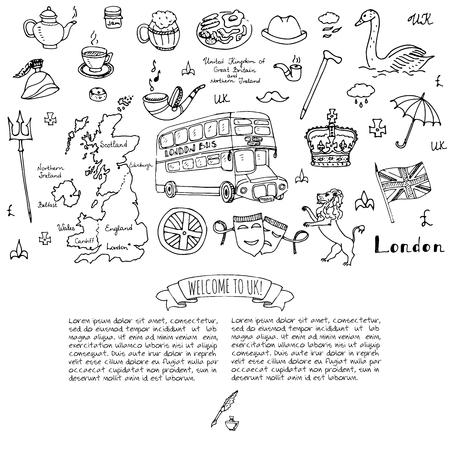 セット ベクトル図英国アイコンへようこそロンドン要素に手描き落書きイギリスのイギリスのシンボル コレクション茶バス馬ゴルフ クラウン ビー