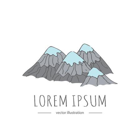 손으로 그린 낙서 산 아이콘입니다. 벡터 일러스트 레이 션 개념에 대 한 로고를 추가합니다. 일본 관련 아이콘 엽서입니다. 스케치 스타일 격리 화산