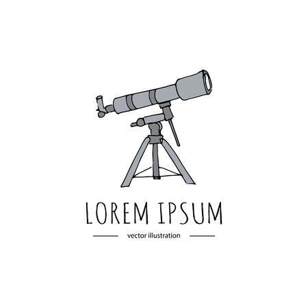 Hand drawn doodle Telescope icon. Vector illustration. Back to school educational symbol Cartoon learning and astronomy element, spyglass and study stars vector graphics isolated on a white background