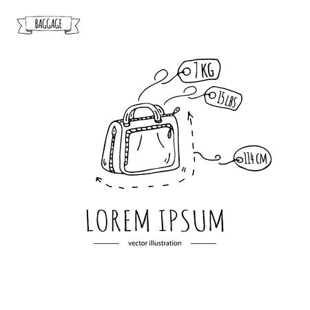 手描き落書き手荷物のアイコンを設定します。ベクトルの図。重量とサイズの許容手荷物の種類。小さなスーツケース荷物バックパック運ぶ動物は