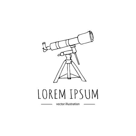 Hand getekende doodle Telescope icoon Stock Illustratie